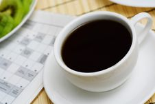 Free Coffee With Crossword. Royalty Free Stock Images - 4929589