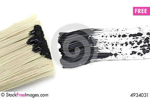 Free Painting - Black Brush Stroke With Brush Stock Image - 4934031