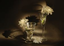 Free Two Glasses And Flower On  Black Background Royalty Free Stock Image - 4930076