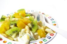 Free Fruit Salad In On A White Background Royalty Free Stock Photo - 4930645