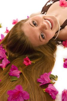 Free Beautiful Woman With Azaleas Stock Photography - 4932172