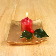 Free Candle With Holly Stock Image - 4932291
