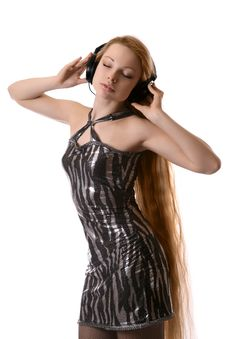 Girl Listens To Music Royalty Free Stock Photo