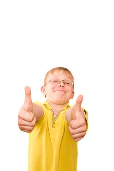 Free Smiling Teenager Show Thumb Up Sign On Two Hands Royalty Free Stock Photo - 4934785