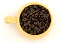 Free Cup Of Dark Roast Coffee Beans Stock Photography - 4935822