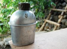 Free Aluminun Water Flask Of Soldier In The Jungle Royalty Free Stock Image - 4935866