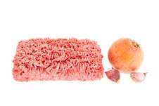 Minced Meat, Onion And Garlic. Royalty Free Stock Images