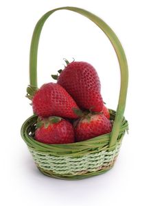 Free Red Strawberries In Small Wicker Basket Stock Image - 4937311