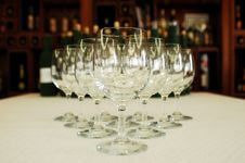 Free Row Of Glasses, Wine Bottles On Background Royalty Free Stock Photos - 4937318