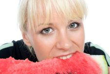 Free Blondy Hold Water-melon Royalty Free Stock Photography - 4938007