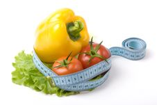 Free Vegetables And Blue Measure Tape Royalty Free Stock Photography - 4938637