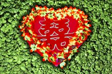 Red Heart On Green Background Stock Images