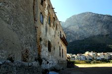 Sicily, Ancient Castle Wall Stock Images