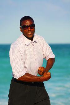 Free Businessman On The Beach Royalty Free Stock Photos - 4940208