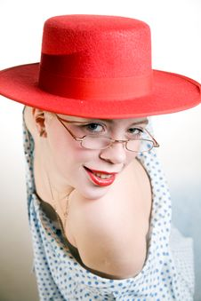 Free Young Sexy Woman In Red Hat Stock Image - 4940781