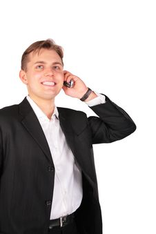 Free Young Man In Suit With Cellphone Stock Images - 4941384