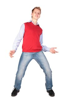Free Boy In Red Jacket Dancing Stock Photos - 4941453