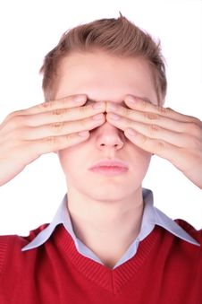 Free Boy In Red Jacket Close Eyes Stock Images - 4941464