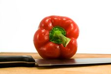 Free Pepper And Knife Royalty Free Stock Images - 4941549