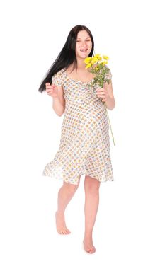 Pregnant Girl With Flower Stock Photography