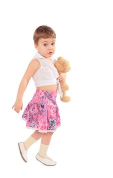 Free Little Girl In Skirt With Toy Stock Images - 4941764