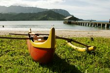 Hawaiian Outrigger Canoe On Beach