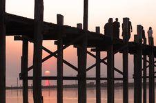Free Myanmar, Amarapura, U Bein Bridge Royalty Free Stock Image - 4943286