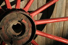 Free Worn Red Wagon Wheel Stock Photo - 4943360
