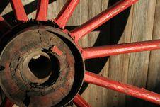 Worn Red Wagon Wheel Stock Photo