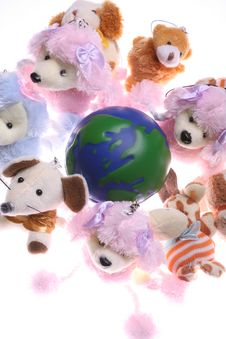 Free Earth Model And Rag Doll Stock Photos - 4943693
