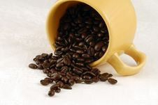 Free Spilled Cup Of Coffee Beans Royalty Free Stock Images - 4943799