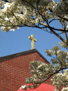 Free Church Cross Framed By Blossoms Royalty Free Stock Photos - 4944048