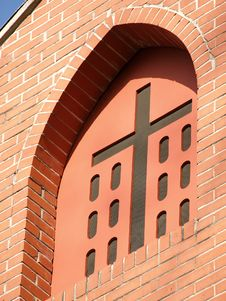 Church Cross In Window Arch Royalty Free Stock Photos
