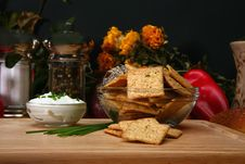 Free Sour Cream And Chive Flavored Crackers Stock Image - 4944331