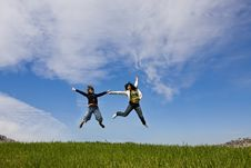 Free Young Friends Jumping Royalty Free Stock Photo - 4945945