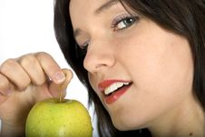 Free Nice Women And Apple Stock Photography - 4947012