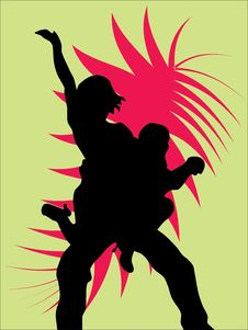 Silhouettes Of  Dancers Stock Images