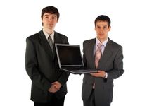 Free Two Young Businessmen Show Laptop 3 Royalty Free Stock Image - 4950086