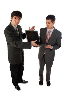 Free Two Young Businessmen Show Laptop 4 Stock Photo - 4950120