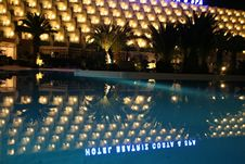 Free Night Pool In The SPA Hotel Royalty Free Stock Photo - 4950755