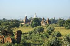 Myanmar, Bagan: Panorama At The Sundown Royalty Free Stock Images