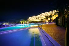 Free Night Pool In The SPA Hotel Royalty Free Stock Photography - 4951137