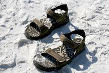 Free Pair Of Sandles In The Sand Royalty Free Stock Image - 4951506