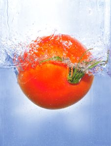Free Splashing Tomato Into A Water Stock Photography - 4952812
