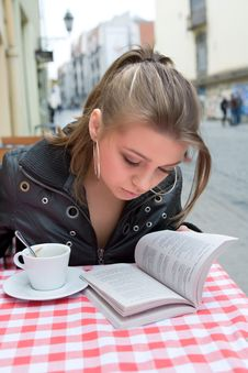 The Student In Cafe Street In Old City Stock Images