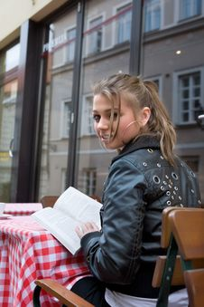 Free The Student In Cafe Street In Old City Royalty Free Stock Photography - 4953557