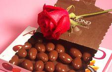 Free Almond Chocolates And Rose Stock Photo - 4953960
