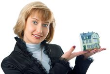 Business Woman With Little House On Hand Stock Photos