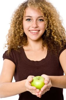 Free Girl With Apple Stock Photo - 4957380