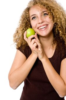 Free Girl With Apple Stock Image - 4957391